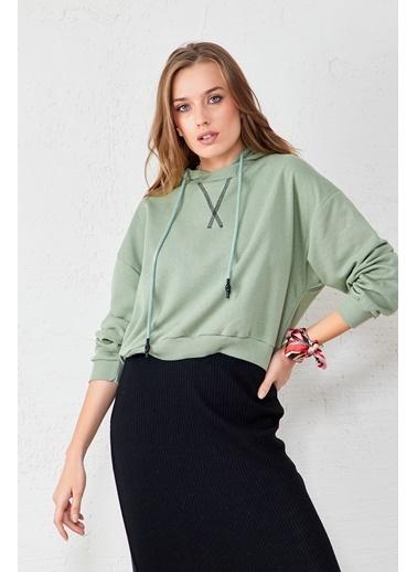 EKA Kapişonlu Bağcıklı Uzun Kol Sweatshirt Yeşil